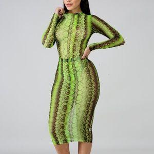 Slime neon snake skin 2 piece bodysuit & skirt